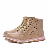 Ботинки демисезонные Nordman Go на шнуровке для девочек, бежевые