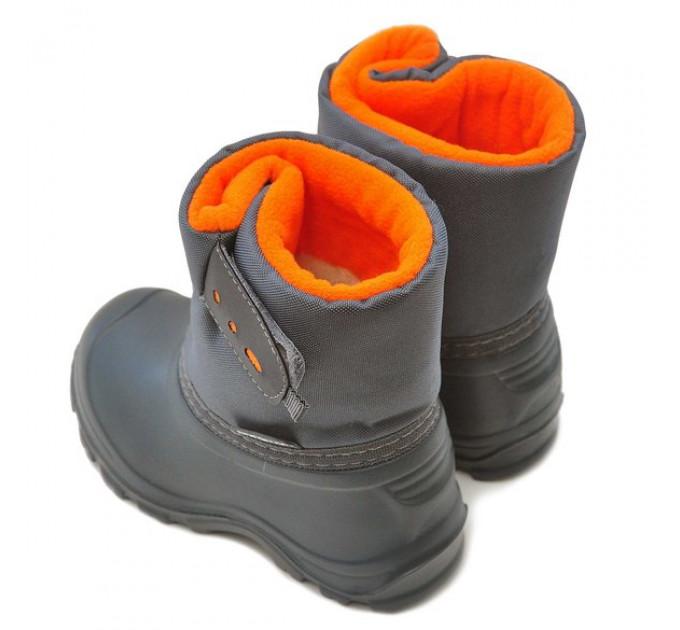 Детские сноубутсы Nordman Joy из ЭВА на высокой липучке, оранжевые с серым