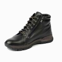 Мужские ботинки Рос-Обувь кожаные с натуральным мехом, черные