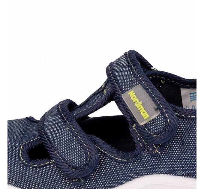 Тапочки детские Nordman Stars джинсовые, синие
