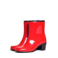 Женские полусапожки Nordman Bellina на каблуке, красные