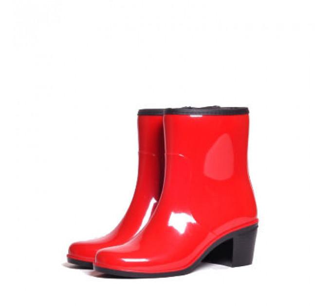 Женские полусапожки Nordman Bellina с мехом на каблуке, красные